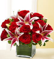 1 800 Flowers-Modern Embrace-Red Roses and Lillies in Woodbridge VA, Lake Ridge Florist
