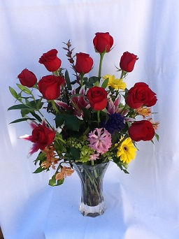Nachtmann XL 1 Dozen Red Roses with Embellishment in Houston TX, Village Greenery & Flowers