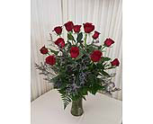 Dozen red  roses vased in Glenview, Illinois, Hlavacek Florist of Glenview