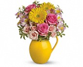 Teleflora's Sunny Day Pitcher Of Charm in Darlington WI, A Vintage Market Floral