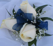 3 WHITE ROSE W/ R. STONES in Ossining NY, Rubrums Florist Ltd.
