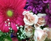 Pink and Purple Vase Arrangement in Manalapan NJ, Rosie Posies