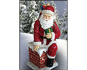 Santa on Chimney in San Antonio TX, Best Wholesale Christmas Co