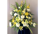 Yellow & White Funeral Arrangement in Carmichael, California, Bettay's Flowers