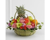 The FTD� Rest In Peace� Fruit & Flowers Basket in San Clemente CA, Beach City Florist