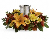 Glowing Gathering Centerpiece by Teleflora in Burlington WI, gia bella Flowers and Gifts