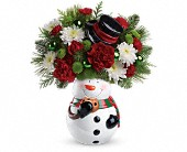 Teleflora's Snowman Cookie Jar Bouquet in Dublin, Ohio, Red Blossom Flowers & Gifts