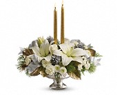 Teleflora's Silver And Gold Centerpiece in Vancouver BC, Downtown Florist