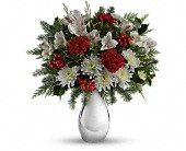 Teleflora's Silver And Snowflakes Bouquet in Burlington WI, gia bella Flowers and Gifts