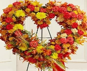 1 800 Flower-Standing Open Heart in Fall Colors in Woodbridge VA, Lake Ridge Florist