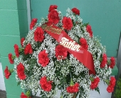 red carnation casket spray in Waipahu HI, Waipahu Florist
