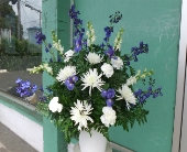 blue and white funeral arrangement in Waipahu HI, Waipahu Florist