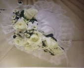 White Satin Heart Pillow in Staten Island, New York, Buds & Blooms Florist
