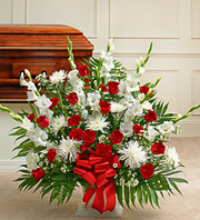 All Red and White Sympathy Basket in Staten Island, New York, Buds & Blooms Florist