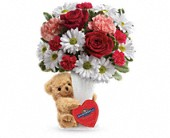 Teleflora's Send a Hug Bear Your Heart Bouquet in Surrey BC, All Tymes Florist