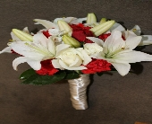 Red and White mixed flower bouq. in Corona, California, AAA Florist