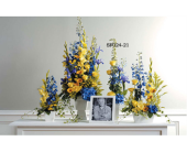 BLUE & YELLOW MEMORIAL ARRANGEMENT in Medicine Hat AB, Beryl's Bloomers
