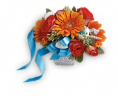 Sunset Magic Corsage in Vicksburg MS, Helen's Florist
