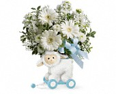 Teleflora's Sweet Little Lamb - Baby Blue in Edmonton AB, Petals For Less Ltd.