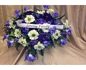 Silk Casket Spray-Purple & White in Timmins ON, Timmins Flower Shop Inc.