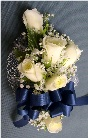 White & Navy Corsage in Kennett Square PA, Barber's Florist Of Kennett Square