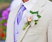 White Cymbidium Boutonniere in Seattle WA, Topper's European Floral Design