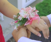 Pink & White Corsage in Seattle WA, Topper's European Floral Design