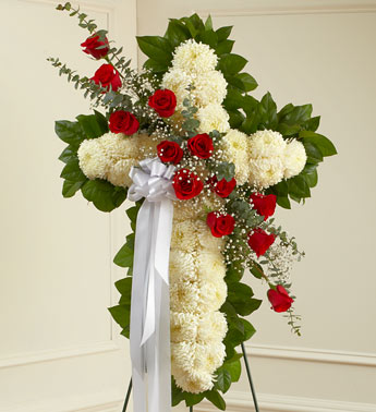 Red and White Standing Cross in Port Orange, Florida, Port Orange Florist
