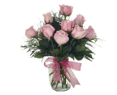 One Dozen Pink Roses Arranged in Yakima WA, The Blossom Shop