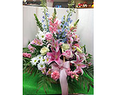 Pastel Wicker Basket in Manhasset, New York, Town & Country Flowers
