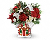 Teleflora's Gingerbread Cookie Jar Bouquet in Oakland CA, Lee's Discount Florist