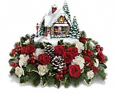 Thomas Kinkade's A Kiss For Santa by Teleflora in Oakland CA, Lee's Discount Florist