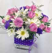 DOTS & PURPLE POSIES by Rubrums in Ossining NY, Rubrums Florist Ltd.