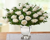 Premium Long Stem White Roses in Silver Vase in Round Rock TX, Heart & Home Flowers