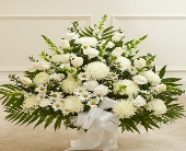 Heartfelt Tribute White Floor Basket Arrangement in Round Rock TX, Heart & Home Flowers