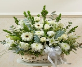 White Sympathy Arrangement in Basket in Round Rock TX, Heart & Home Flowers