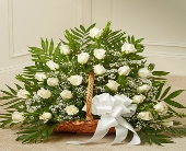 Sincerest Sympathies Fireside Basket - White in Round Rock TX, Heart & Home Flowers