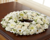 Cremation Wreath - All White in Round Rock TX, Heart & Home Flowers