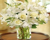 Classic All White Arrangement for Sympathy in Round Rock TX, Heart & Home Flowers