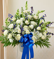 Blue and White Floor Basket in Staten Island NY, Eltingville Florist Inc.