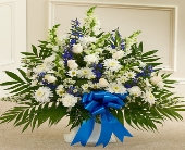Tribute Blue & White Floor Basket Arrangement in Round Rock TX, Heart & Home Flowers