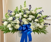 Heartfelt Sympathies Blue & White Standing Basket in Round Rock TX, Heart & Home Flowers