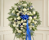 Deepest Sympathies Blue & White Standing Spray in Round Rock, Texas, Heart & Home Flowers