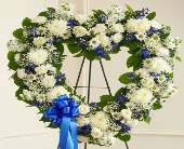 Always Remember Blue & White Floral Heart Tribute in Round Rock, Texas, Heart & Home Flowers