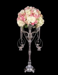 Crystal flowerstand with candle baskets in Staten Island NY, Eltingville Florist Inc.
