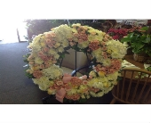 Funeral Weath White and Pink in Arlington, Texas, Arlington Flower Exchange