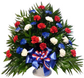 32 Carnation Tribute Basket: Patriotic in Indianapolis IN, Steve's Flowers and Gifts