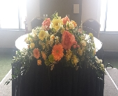 Orange and Yellow Pastel Head Table Centerpiece in Latrobe, Pennsylvania, Floral Fountain
