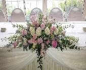Pink and White Head Table Centerpiece in Latrobe, Pennsylvania, Floral Fountain