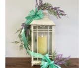 GeNell's Original Cream Lantern with Candle in Piqua, Ohio, Genell's Flowers